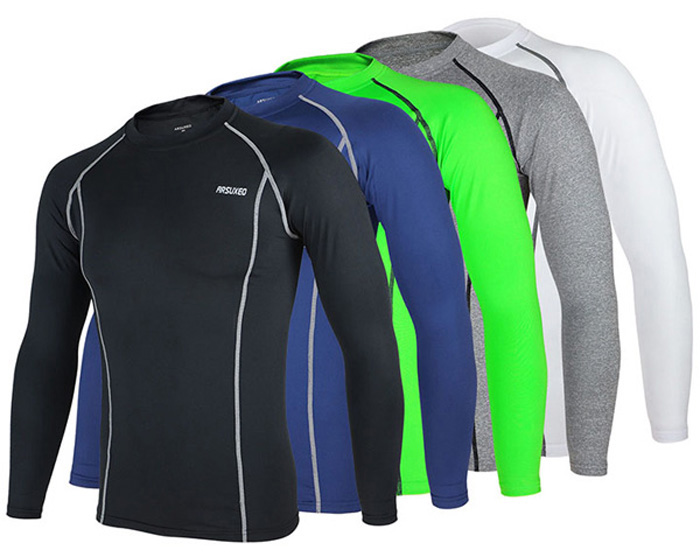 Arsuxeo C19 Soft Cycling Jersey Bike Bicycle Racing Running Long Sleeve Clothes for Male