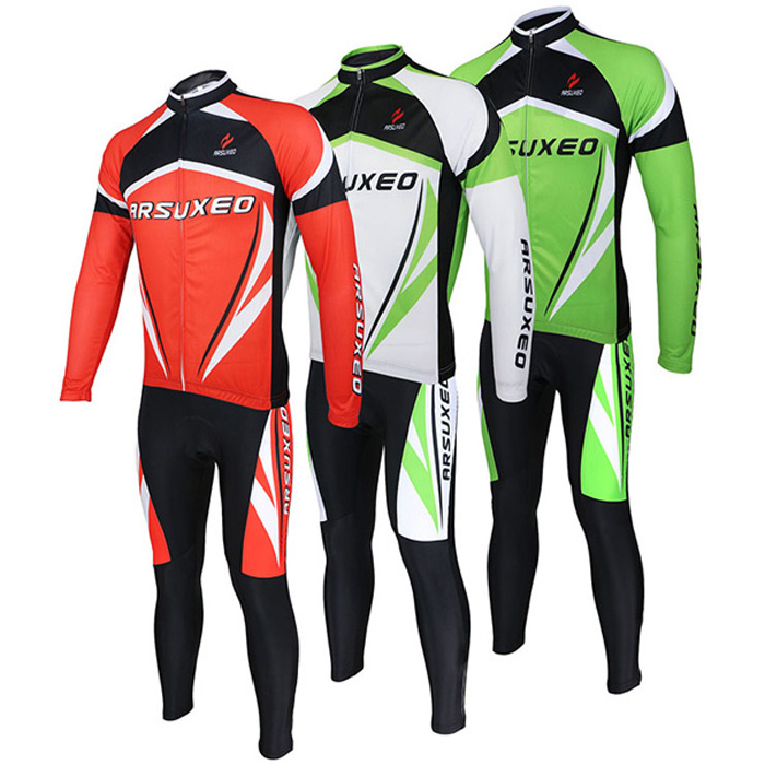 Arsuxeo ZLS06V Cycling Suits Jersey Jacket Pants Set Bike Bicycle Running Long Sleeve Clothes for Male