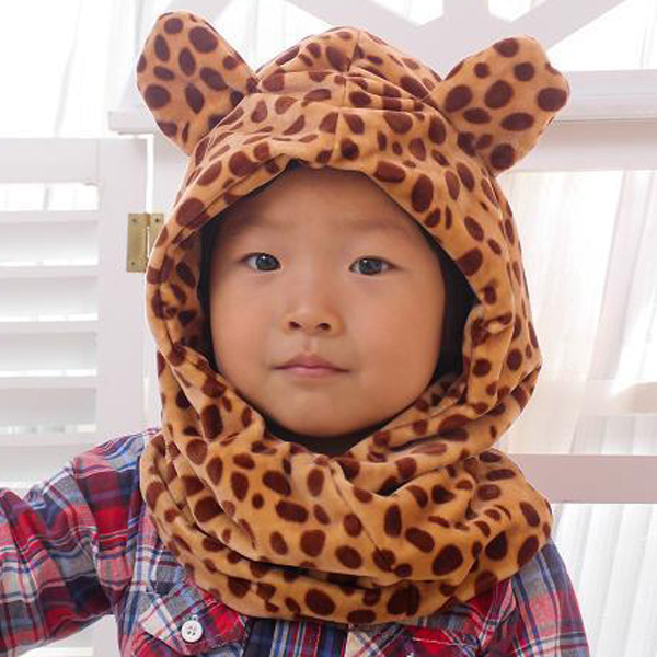Winter Coral Fleece Animal Plush Giraffe Style Bomber Hat / Cap with Scarf Function