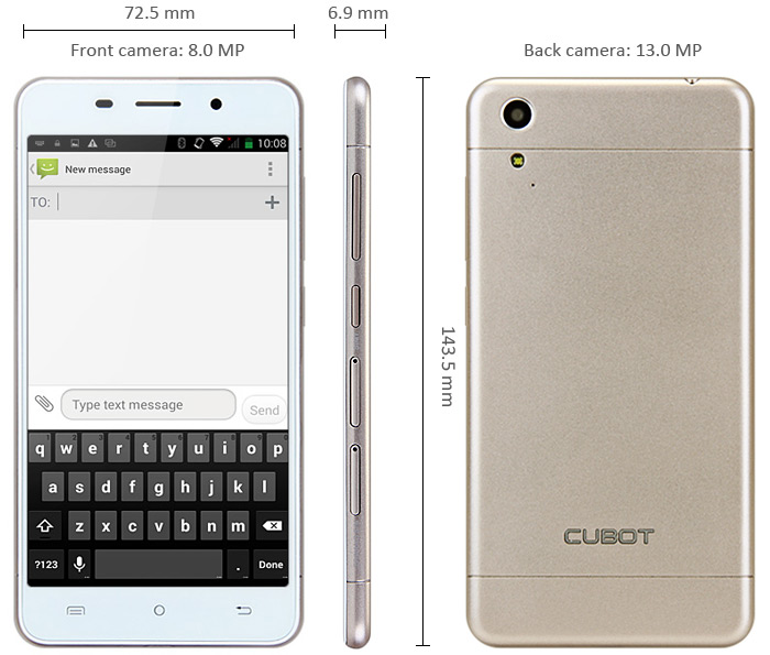 Cubot X9 Android 4.4 3G Smartphone 5.0 inch HD IPS Screen MTK6592M 1.4GHz Octa Core 2GB RAM 16GB ROM Dual Cameras GPS