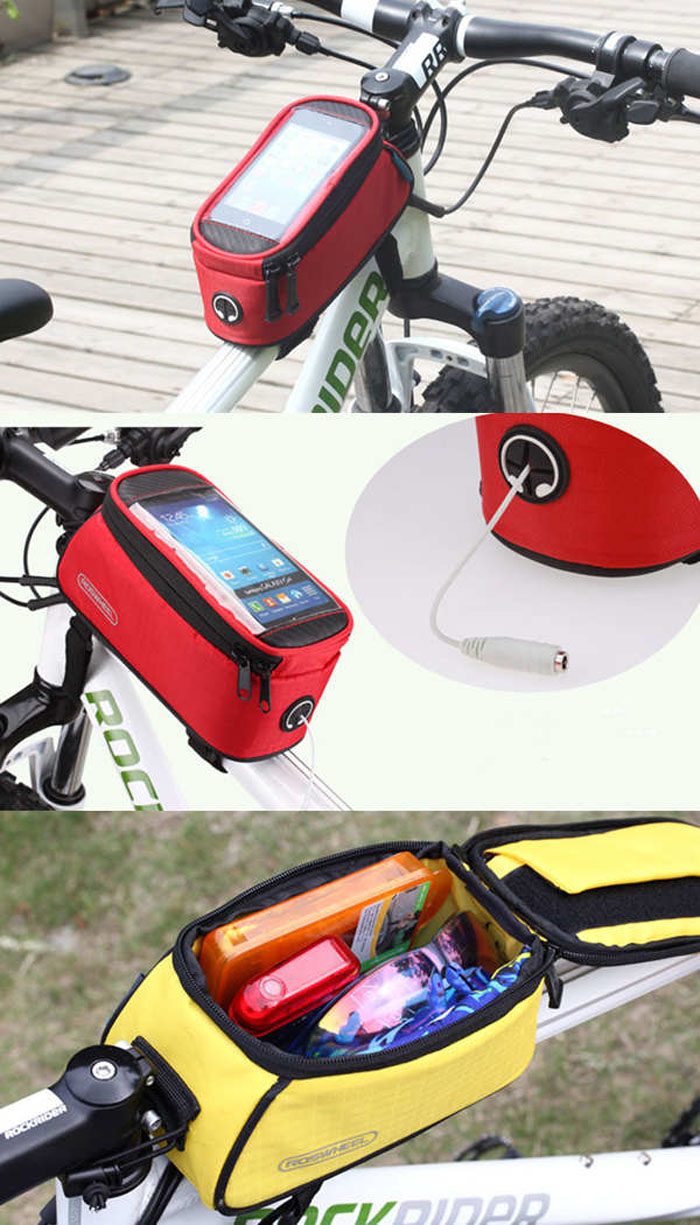 Roswheel 5.5 inch Touch Screen Bicycle Saddle Phone Bag Holder Handlebar Pack with Earphone Hole