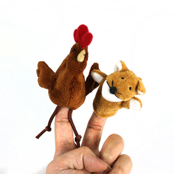 2Pcs Cute Doll Design Plush Toy Finger Puppets Telling Story Doll Props Fox and Chicken