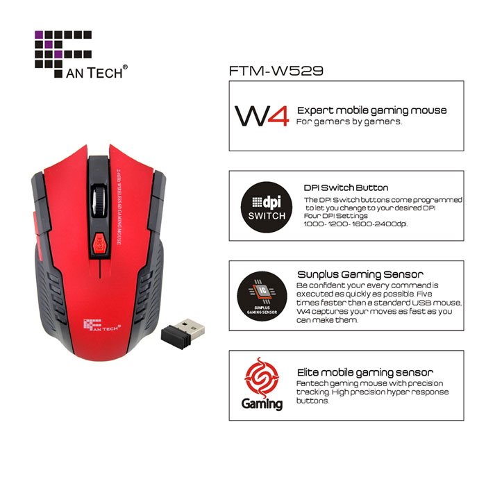 W4 2.4G Wireless 6D Gaming Optical Mouse with 2400DPI for Desktop Laptop