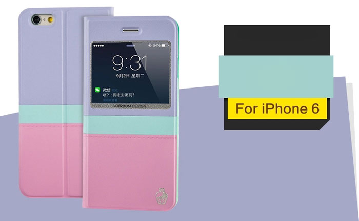 Joyroom PU and PC Material View Window Cover Case of Contrast Color Design for iPhone 6 Plus - 5.5 inches