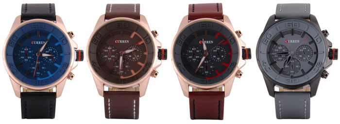 Curren 8187 Male Quartz Watch Decorative Sub-dials Leather Band