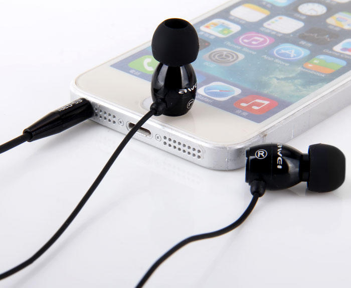Awei ESQ38i Super Bass In-ear Earphone with 1.2m Cable Mic Next Song for Smartphone Tablet PC