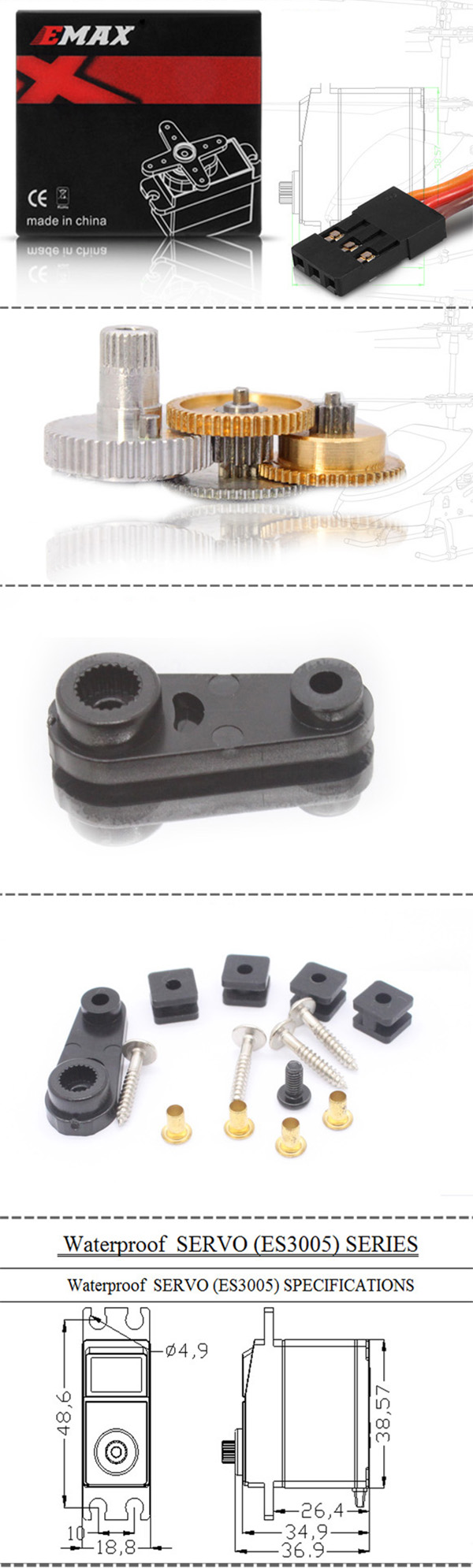 EMAX ES3005 Water Resistance Universal Metal Gear Analog Servo with Bearing for RC Models