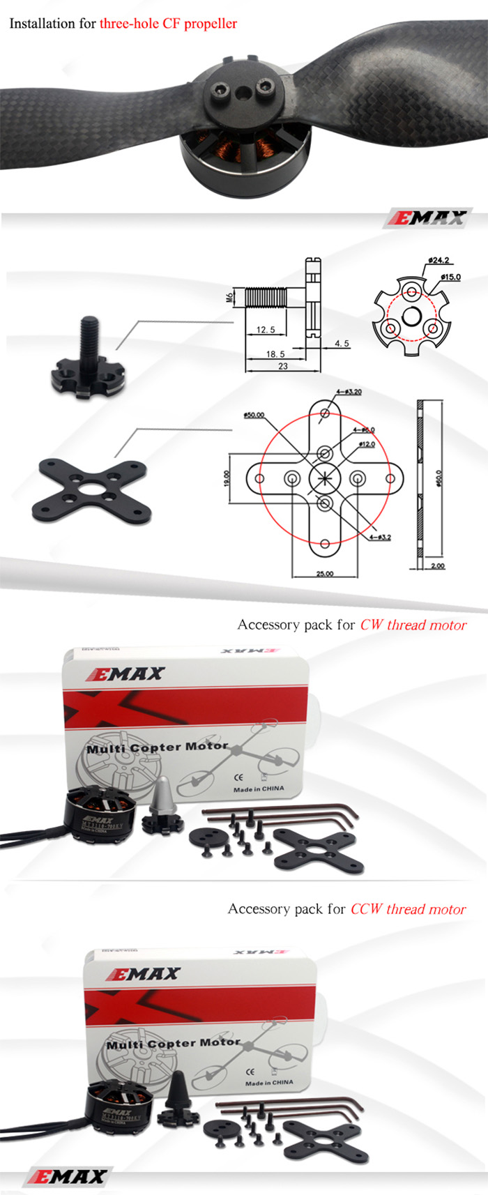 EMAX MT Series MT3110 700KV Brushless No - Brush Multi Copters Motor for Multi-rotor Quadcopter