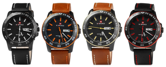 Naviforce NF9040M Military Leather Band Quartz Analog Watch Japan Movt Day Week Water Resistant for Men