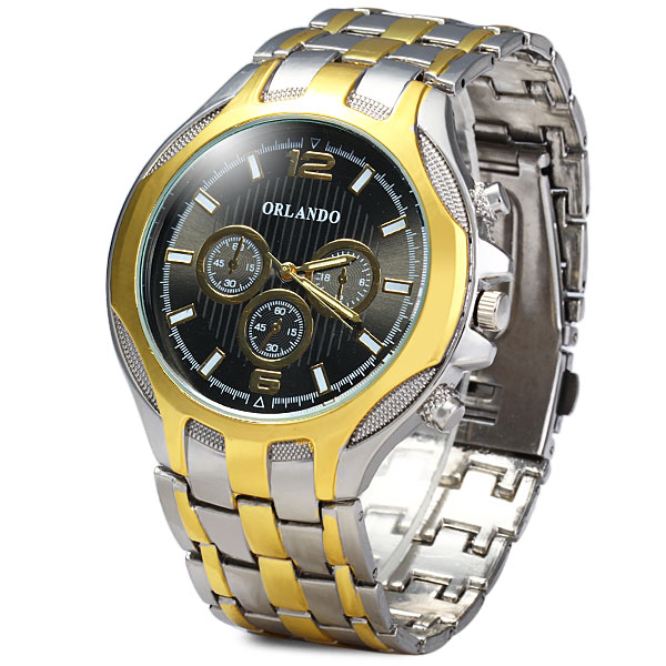Orlando 425 Decorative Sub-dials Male Analog Quartz Watch Alloy Band Round Dial