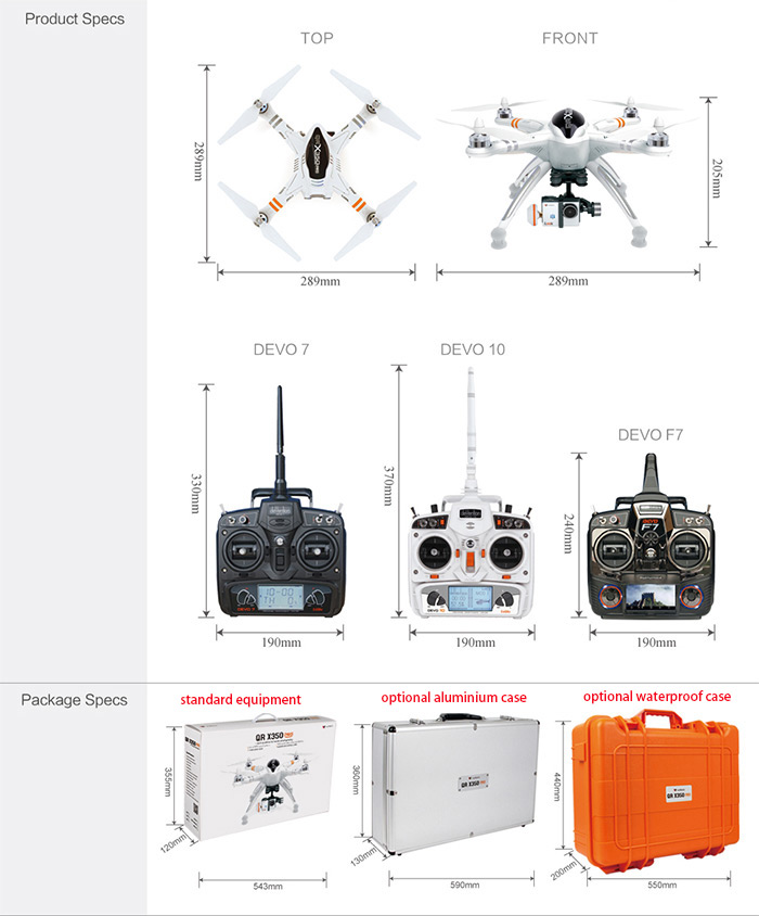 Walkera QR X350 Pro GPS RC Quadcopter with iLook Camera DEVO F7 Transmitter G - 2D Brushless Gimbal Mushroom Antenna Battery and Charger