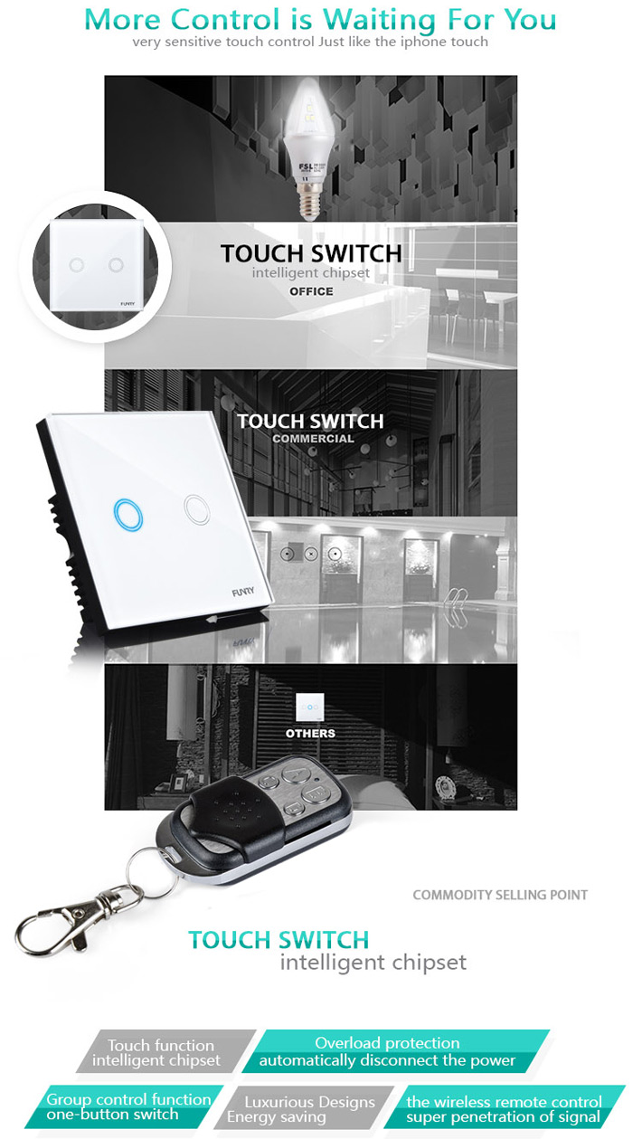 FUNRY Touch Remote Switch 2 Gang Smart Control On-off for Home Supplies - EU Standard