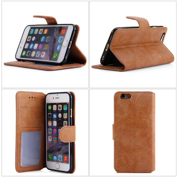 Durable PU and TPU Material Vintage Texture Protective Case with Card Holder and Stand Function for iPhone 6 - 4.7 inch