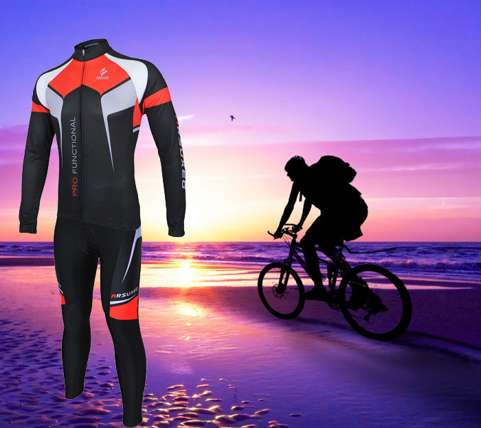 Arsuxeo ZLS07X Cycling Suits Jersey Jacket Pants Set Bike Bicycle Running Long Sleeve Clothes for Male