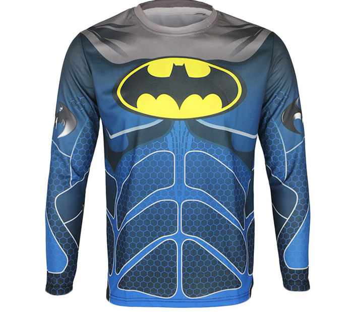 Arsuxeo Batman Style Thermal Transfer Cycling Jersey Bike Bicycle Running Long Sleeve Clothes for Male