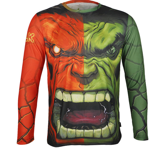 Arsuxeo Hulk Style Thermal Transfer Cycling Jersey Bike Bicycle Running Long Sleeve Clothes for Male
