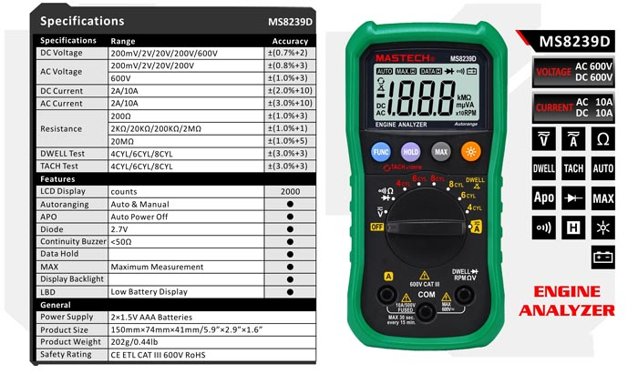 MASTECH MS8239D Auto and Manual Ranging Digital Multimeters Volt Current Resistance Tester