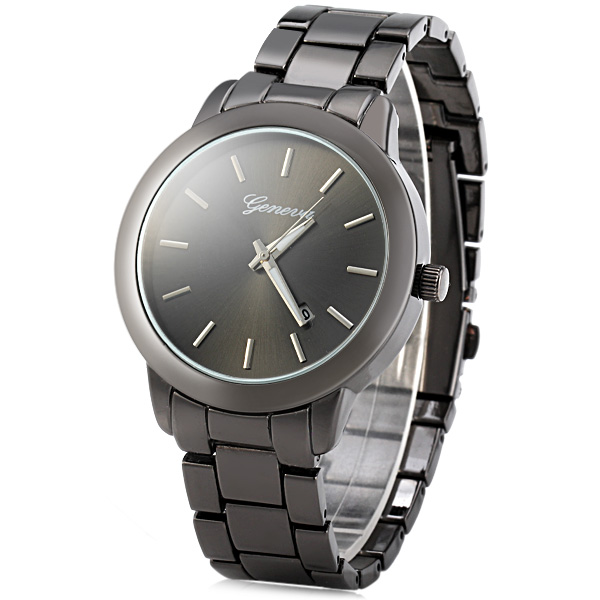 Geneva Date Display Men Quartz Watch with Round Dial Stainless Steel Band