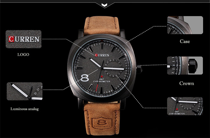 CURREN 8139 Unisex Quartz Watch 1 Arabic Number and Trapezoids Indicate Leather Watchband