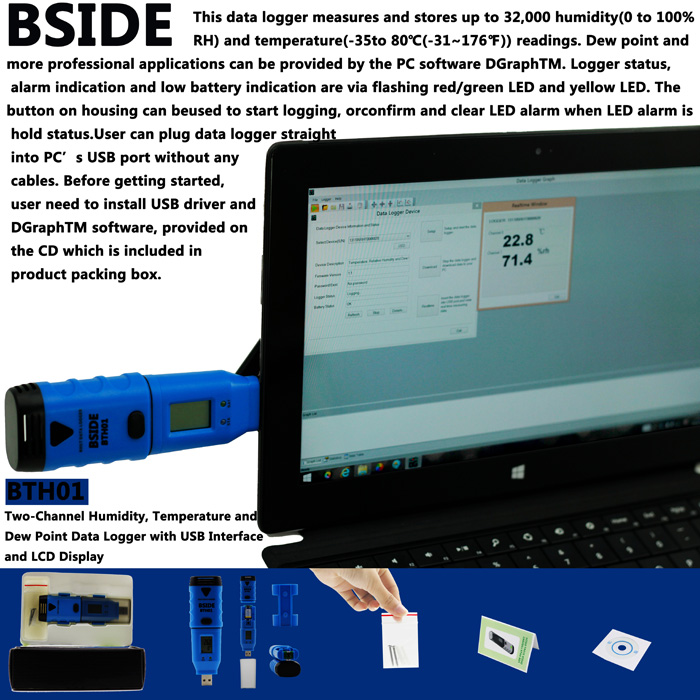 BSIDE BTH01 2-CH Temperature Humidity Dew Point Data Logger with USB Interface / LCD Display
