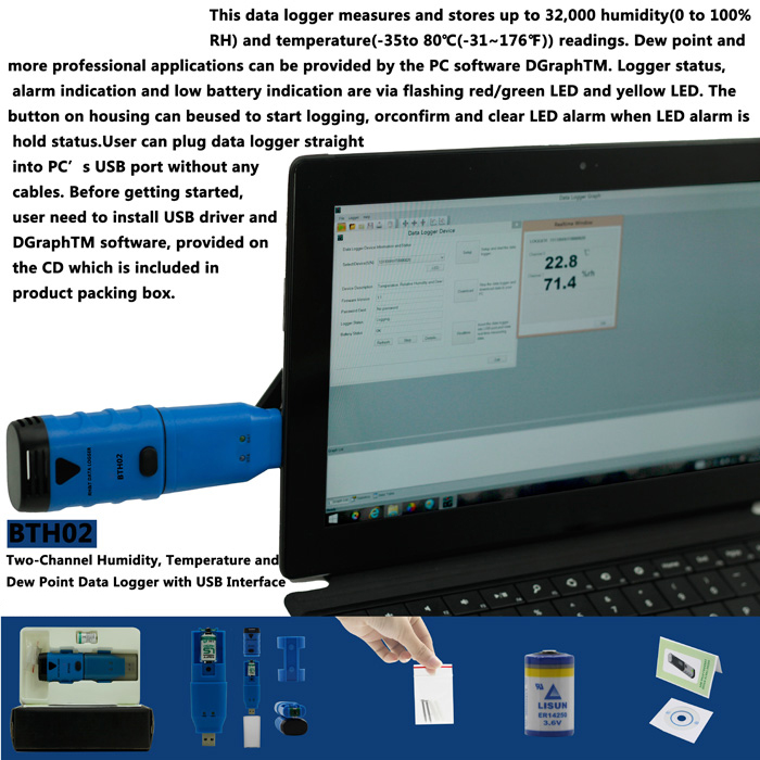 BSIDE BTH02 2-CH Temperature Humidity Dew Point Data Logger with USB Interface