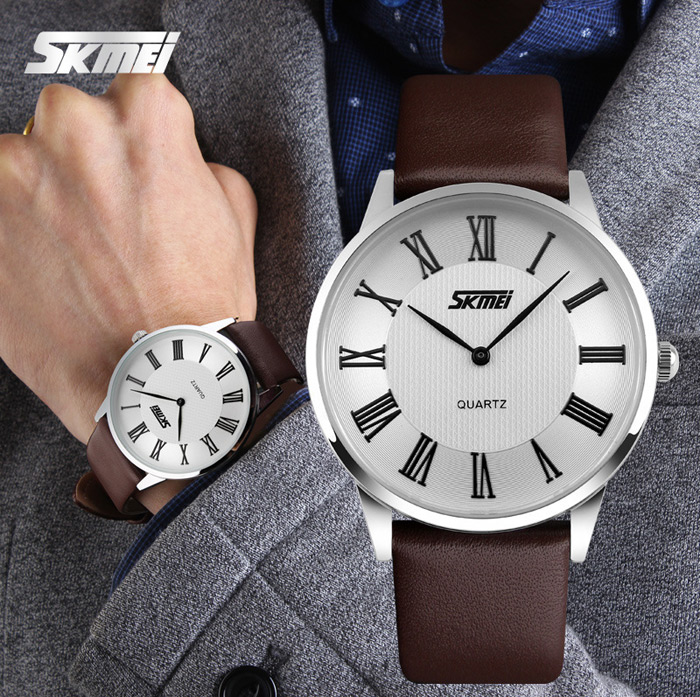 Skmei 9092 Ultrathin Japan Quartz Watch Water Resistant Leather Band for Men