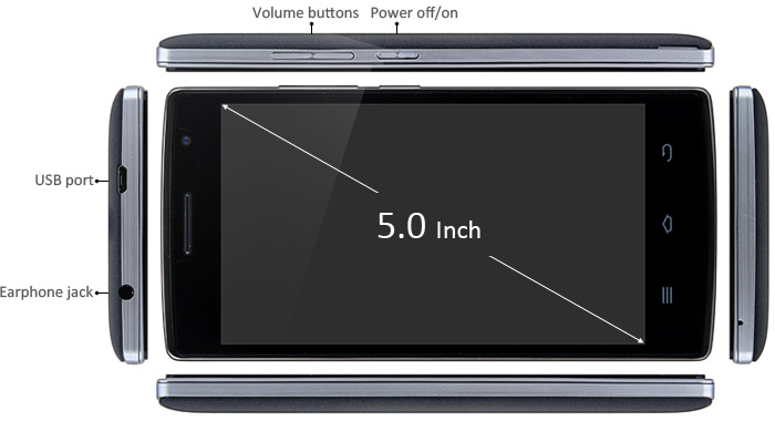 5.0 inch THL 5000T Android 4.4 3G Smartphone with MTK6592 1.4GHz Octa Core HD Screen 1GB RAM 8GB ROM GPS WiFi Dual Cameras