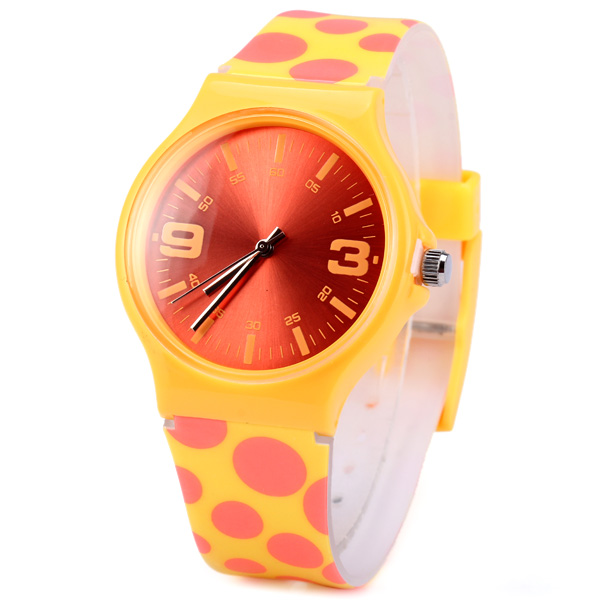 Round Dot Quartz Watch Rubber Wristband for Women