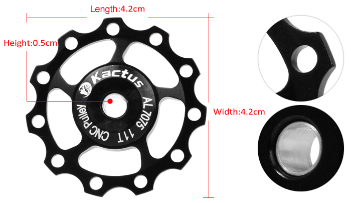 Kactus Alluminum Alloy CNC 11TGuide Roller Wheel Rear Derailleur Pulley for SHIMANO SRAM
