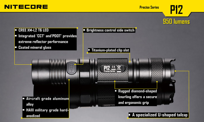 Nitecore P12W Cree XM L2 T6 950Lm 7 Modes Waterproof 18650 CR123 LED Flashlight ( Neutral White Light )