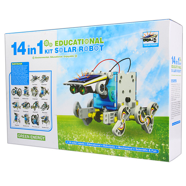 CUTE SUNLIGHT 2115 14-in-1 DIY Solar Robot Pattern Building Block Assembling Puzzle Game