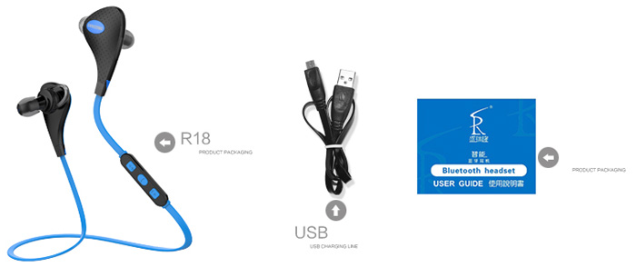 R18 Bluetooth V4.0 Wireless Sports Headphone Multiple Connection for Smartphone Tablet PC