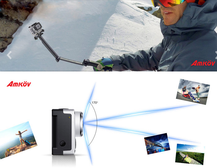 Amkov AMK5000S WiFi 1080P FHD Wireless Sports DV Camcorder 170 Degree Wide Angle Lens Waterproof Action Camera