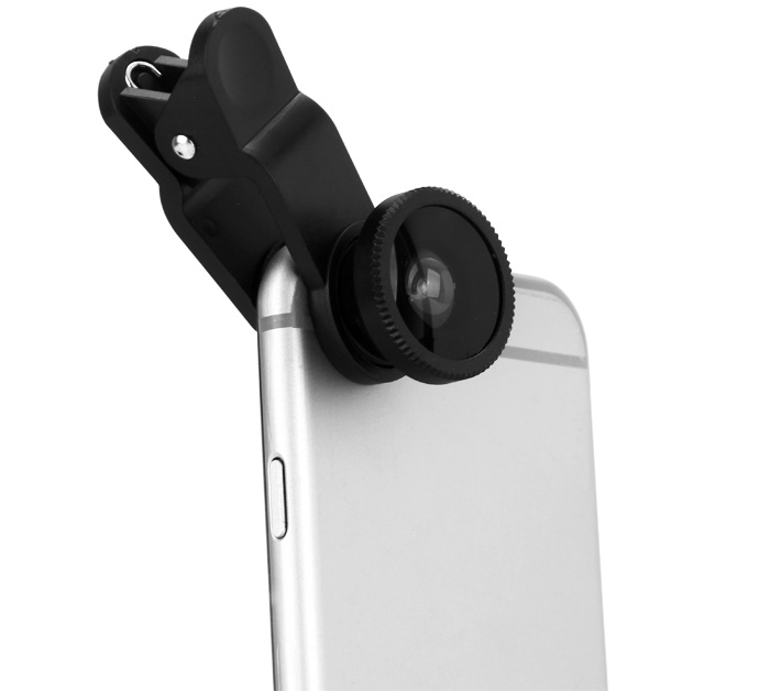 LP 3001 Fish Eye Wide Angle Macro 3 in 1 Universal Clip Mobile Phone Lens