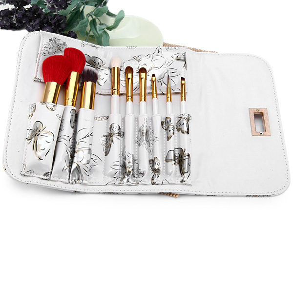 9pcs / Set Beauty Facial Makeup Brush Kit with Arabesquitic Brush Bag for Professional Use