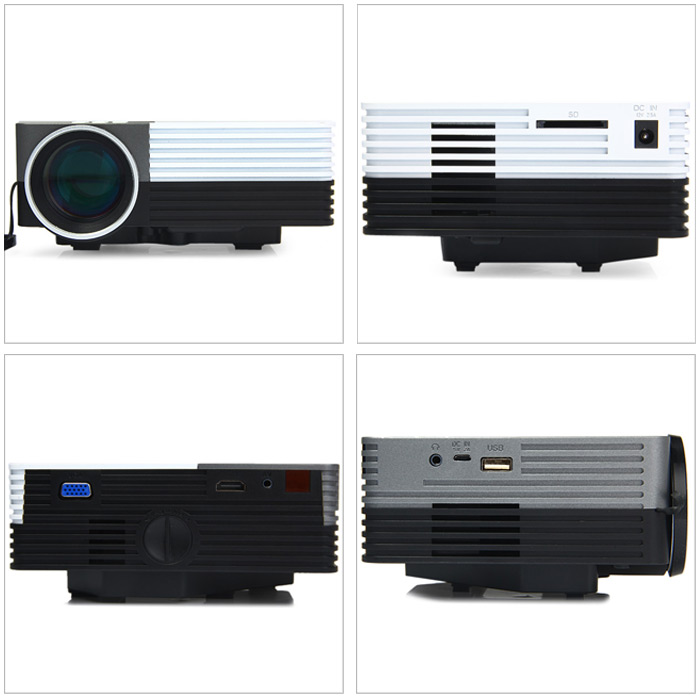 GM50 80LM 480 x 320 Pixels LCD Projector with HDMI VGA AV USB SD Card Slot Support IR Remote Control