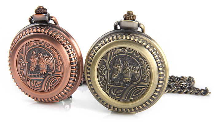 Flip Quartz Pocket Watch with Horse Face and Round Dial