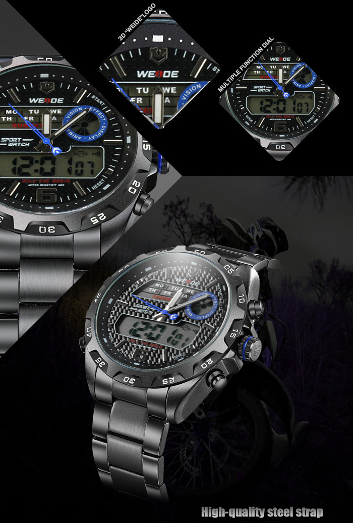 WEIDE WH-3403 Steel Band Double Japan Movt Male Watch 30m Water Resistance Alarm Week Stopwatch