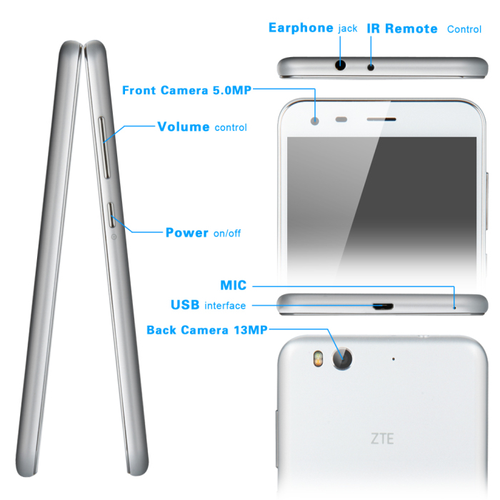 5.5 inch ZTE Blade S6 Plus Android 5.0 4G LTE Smartphone with MSM8939 Octa Core 64bit 1.5GHz HD Screen13MP Camera GPS HiFi 16GB ROM