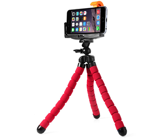 Practical Cell Phone Holder Tripod Mount Clip Stand of Sponge Cover Design for iPhone 6 / 6 Plus Samsung Sony HTC etc.