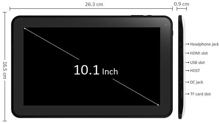 10.1 inch S183 Android 4.4 Tablet PC WSVGA Screen A83T Octa Core 1.8GHz 1GB RAM 16GB ROM WiFi Bluetooth
