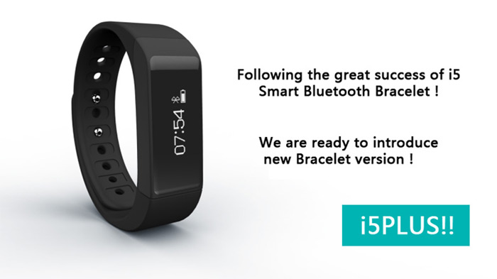 I5 Plus Smart Bracelet IP65 Bluetooth 4.0 Watch Wristband Sleep Monitoring Sports Tracking Remote Camera