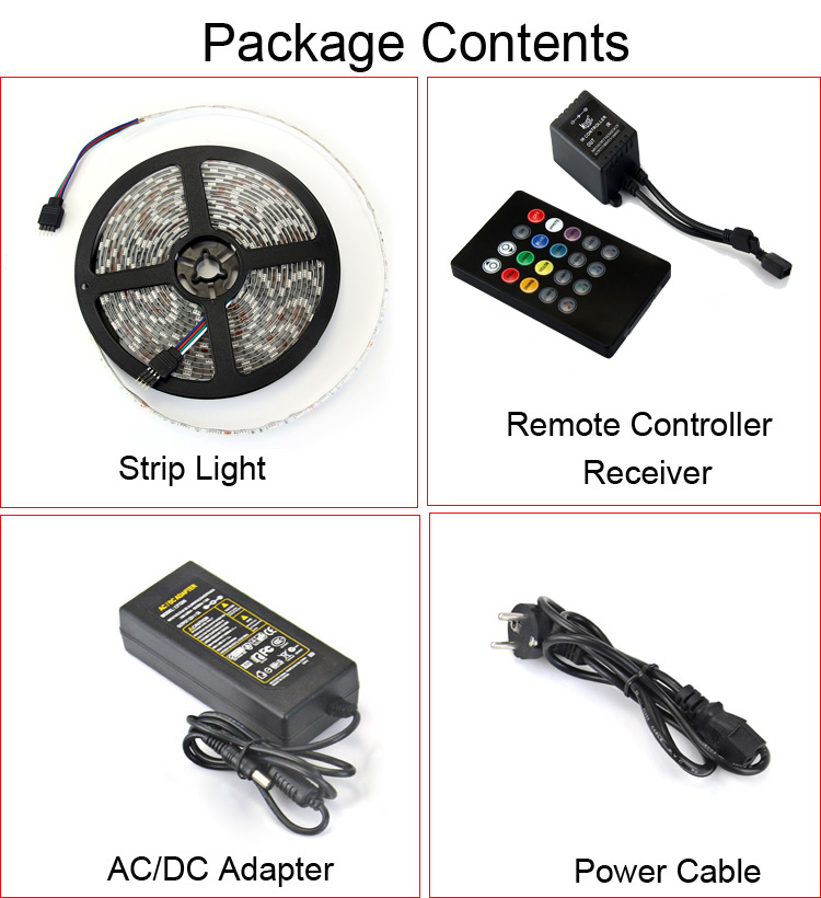 IP65 Water Resistant 72W 5m 300 SMD 5050 RGB LEDs DIY Strip Light with Voice-activated Controller ( 12V 5A )
