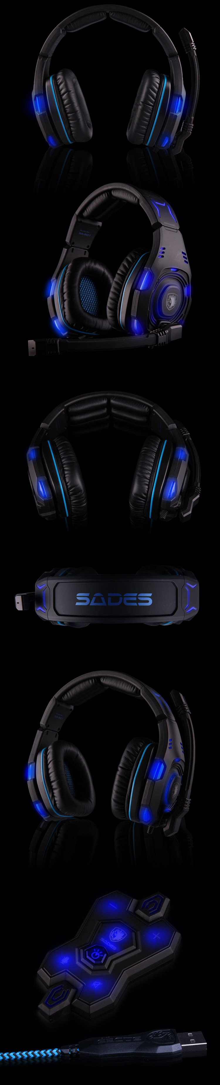 Sades SA - 907 7.1 Surround Sound USB Gaming Headset with Mic Volume Control LED Light for PC Laptop
