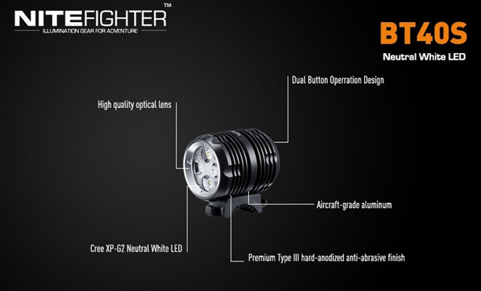 Super Bright 1600 Lumens Nitefighter BT40S Cree XP-G2 Neutral White LED Bicycle Light