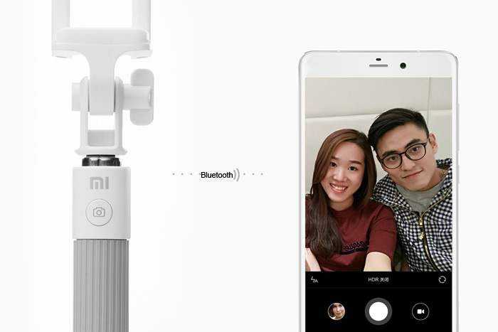 Original Xiaomi Bluetooth V4.0 Remote Control Stretch Selfile Monopod Camera Shutter with Rotatable Phone Bracket for iPhone 6S / 6 Plus Samsung Note 5 S6 Edge Plus etc.