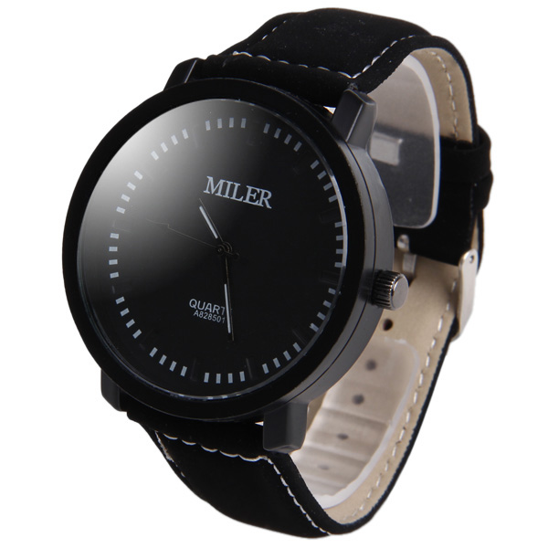 Miler A828501 Male Quartz Watch with Nubuck Leather Band Round Dial