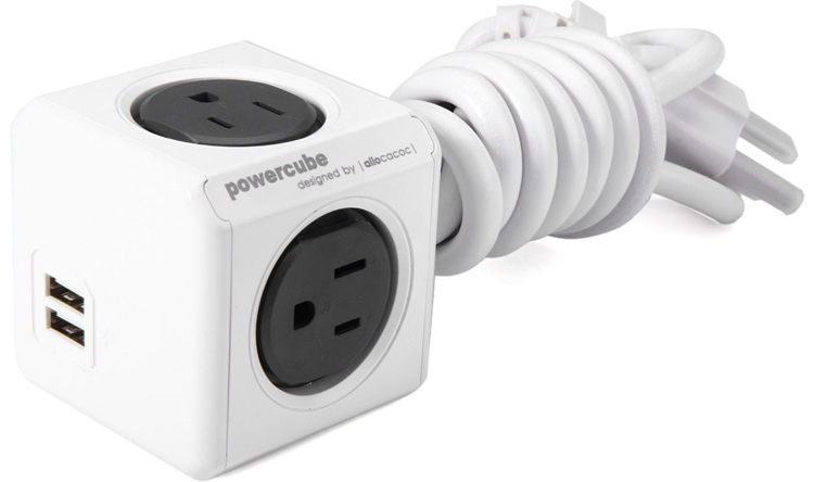 1 Piece Allocacoc Extended PowerCube Socket US Plug 4 Outlets Dual USB Port Adapter with 1.5m Cable