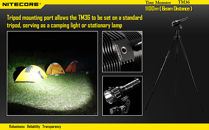 Nitecore TM36 SMT - 70 LED 1800Lm 8 Modes Waterproof LED Flashlight Rechargeable Searchlight