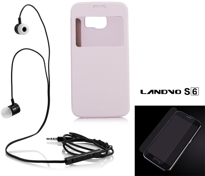 LANDVO S6 Gift Packs Contain Leather Case Earphone Toughened Protection Film
